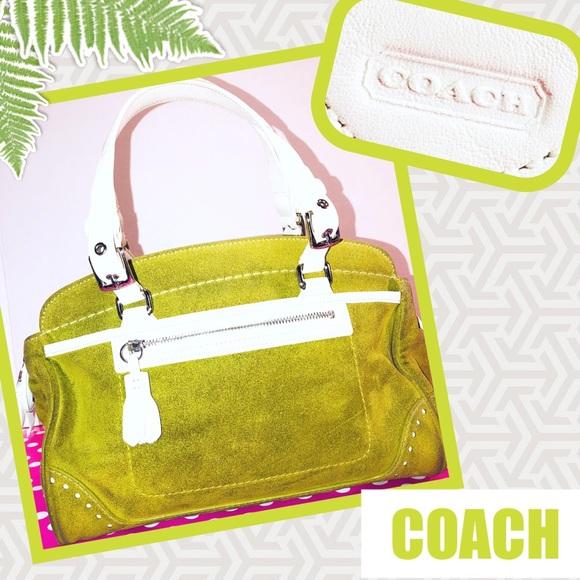 2daa5ab59f Coach Handbags - COACH Fern Green Suede & White Leather Satchel